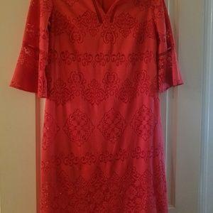 Dressbarn knee-length orange dress .5 in sleeves